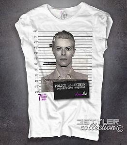 Detalles de Camiseta de Mujer David Bowie Foto Señalización Celebridades Mugshot Amazink