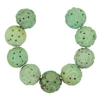 9 Natural Chinese Turquoise Hand Carved Round Beads 17-18mm 47g 82246
