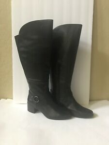 Anne-Klein-Womens-Jamari-Leather-Almond-Toe-Knee-High-Black-leather-Size-10-M