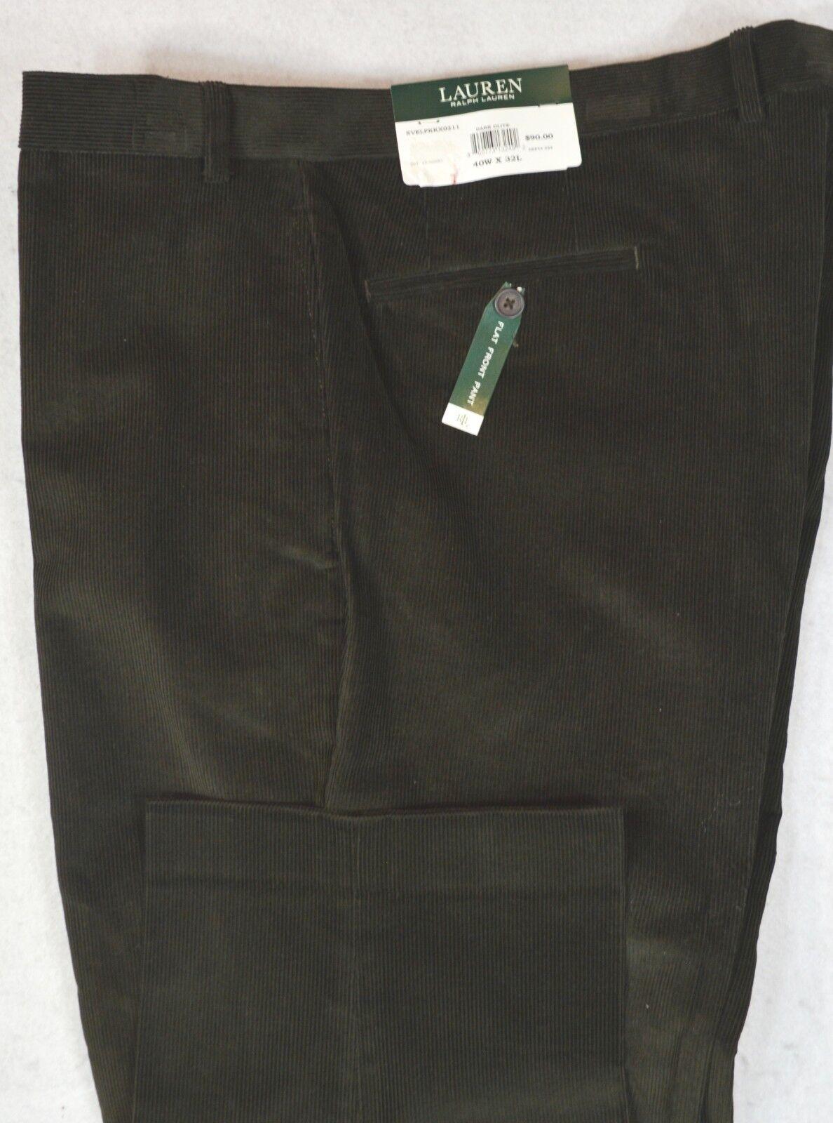 LAUREN Ralph Lauren Corduroy Flat Front Olive Dress Cords Pants 42 32 NWT
