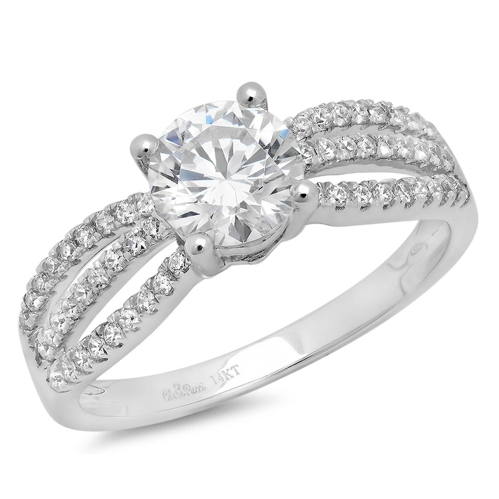 1.35ct Round Cut Wedding Bridal Engagement Anniversary Ring 14k White gold