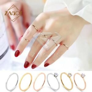 4-5-6-7-8-9-1mm-CZ-Titanium-Stainless-Steel-Plain-Band-Knuckle-Stacking-Rings