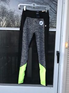 dddf99feb01b3 Image is loading Hollister-Colorblock-Graphic-Active-Leggings -GRAY-BLACK-YELLOW-