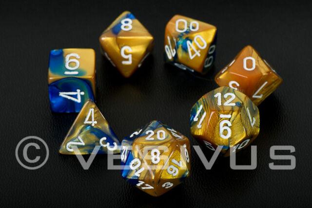 DICE Chessex Gemini BLUE/GOLD 7-Dice Set Marble Shiny d20 d6 26422