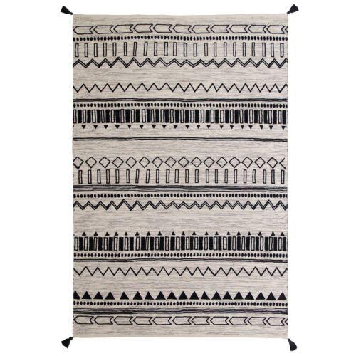 Moroccan Tribal Ethnic Design Printed Charcoal Cream Cotton Durrie Flatweave Rug