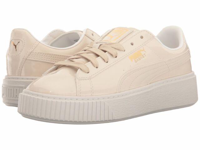 new products 93884 abff3 Women's Shoe PUMA Basket Platform Patent Leather Sneaker 363314-02 Oatmeal  New*