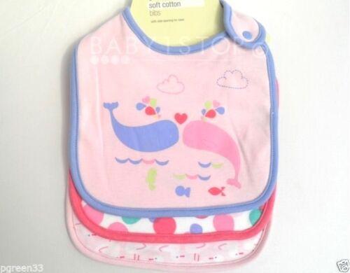 3x Bib  Soft Cotton Girls Pink Designs New 3 Pack Quality Girls Baby Bibs