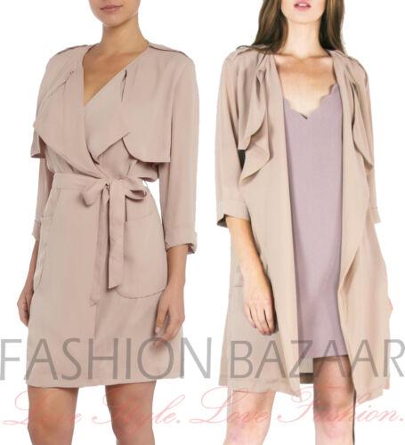New Womens Designer Brand LYDC London Chiffon Summer Trench Coat Blazer Jacket