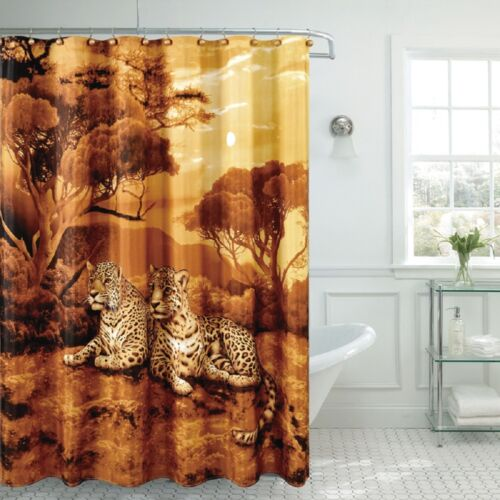 """Fancy Cheetah Fabric Shower Curtain 70/""""x/""""72 Made With 100/% Polyester."""