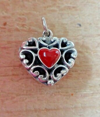 Fine Charms Sterling Silver 17x16x8mm Reversible Red Stone /& Onyx Heart