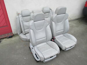 RECARO-Lederausstattung-Sportsitze-Audi-A4-S4-B6-8E-LEDER-Sitz-silber-hellgrau