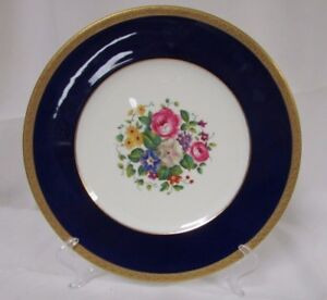 Hand-Painted-Cobalt-Blue-Gold-Rim-Cauldon-China-Dinner-Plate