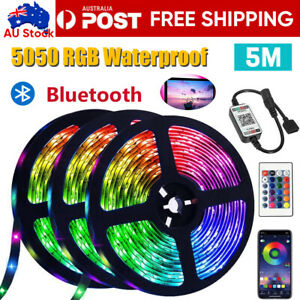 RGB-LED-Strip-Lights-IP65-Waterproof-5050-5M-300-LEDs-12V-Bluetooth-Controller