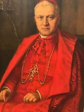 Antique Portrait Oil Painting of Catholic Cardinal Man or Pope Signed c 1940s