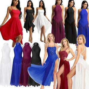 Women-Ladies-Sequin-Lyrical-Ballet-Dress-Gymnastics-Maxi-Leotard-Skirt-Dancewear