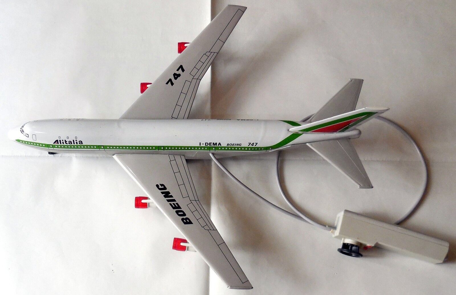 VINTAGE BIG TIN TOY BATTERY  AIRPLANE ALITALIA JOUSTRA MADE IN FRANCE 70s 55 CM