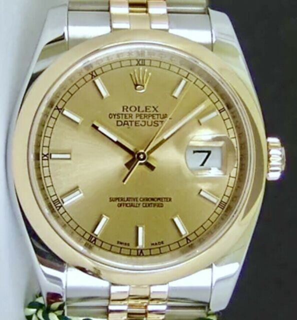 ROLEX - 36mm Mens 18kt Gold & Stainless DateJust Champagne Index - 116203