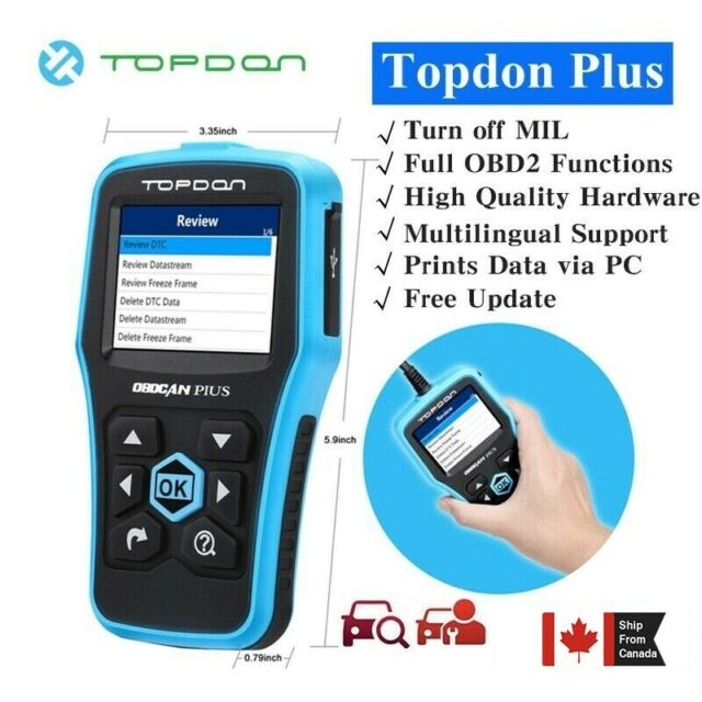 TOPDON OBDCAN PLUS 2.0 OBD2 EOBD Car Diagnostic Scan Tool O2 Senor Engine Check