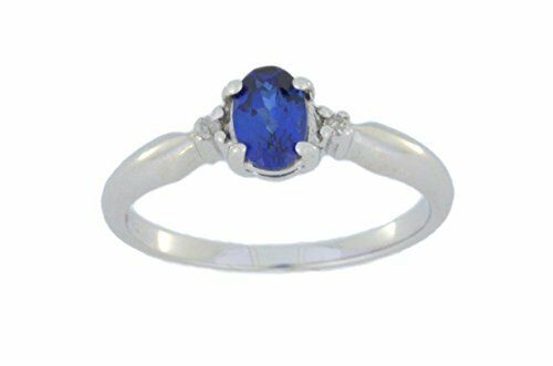 0.50 Ct Blue Sapphire /& Diamond Oval Ring .925 Sterling Silver