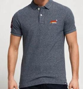 Superdry-Premium-Mens-Classic-Pique-Polo-Shirt-Grey-Iron-Grit-Size-2XL