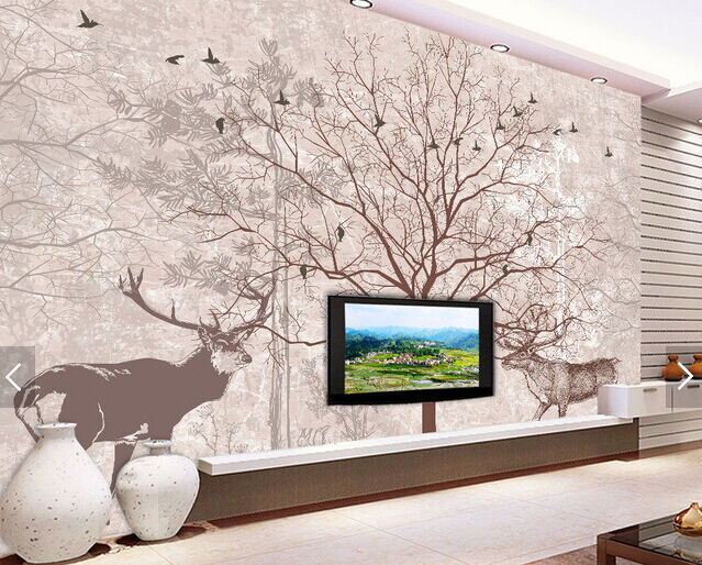 3D Graffiti Branches Deer 14 Paper Wall Print Wall Decal Wall Deco Indoor Murals