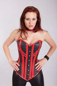 Red Brocade Brown Real Leather Steel Bones Steampunk Over Bust Corset 2XS~7XL