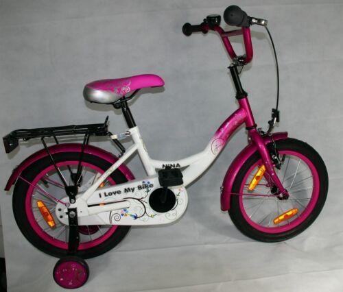 16 Zoll Kinderfahrrad Rücktritt Kinderrad Stützrad Fahrrad Pink Alufelgen Nina