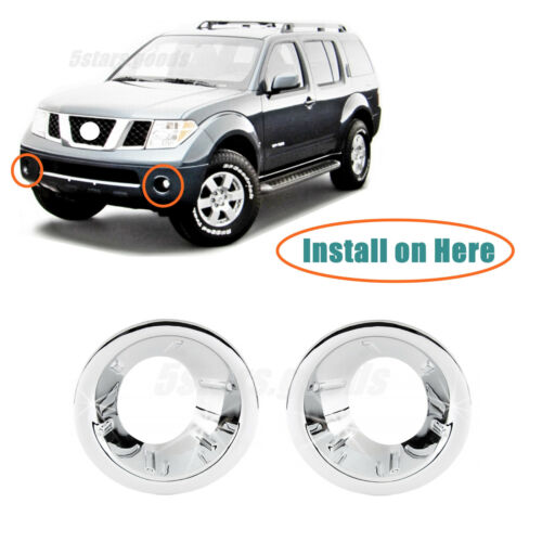 Chrome Front Fog Light Lamp Molding Covers Trims For 2005-2007 Nissan Pathfinder