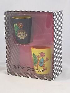 Betsey-Johnson-Yellow-Black-Jungle-Critter-Frog-Monkey-Ceramic-Shot-Glasses-2-PC