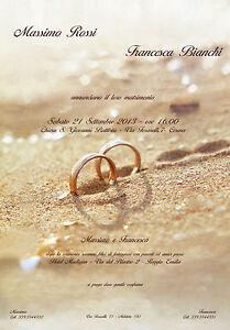 Biglietto Partecipazioni Matrimonio.Biglietto Partecipazioni Nozze Matrimonio Anelli Fedi Sabbia