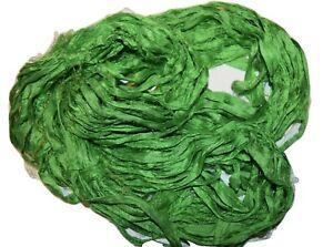 100g Sari Silk Ribbon Yarn Clearance  Lime
