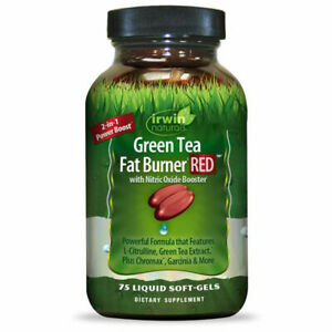 Irwin Naturals Green Tea Fat Burner Red with Nitric Oxide Booster 75 Soft-Gels