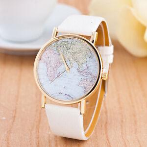 Women-039-s-Leather-Alloy-World-Map-Globe-Analog-Quartz-Retro-Fashion-Wrist-Watch-TS