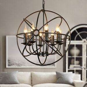 Wrought iron orb chandelier industrial sphere pendant light lighting image is loading wrought iron orb chandelier industrial sphere pendant light aloadofball Image collections