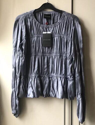 Top Blue Bitte Silk Blouse S Kai 100 Size Elastic Rand xwqqYF1gU