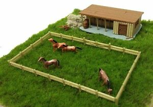 Outland-Models-Train-Railway-Layout-Farm-Stable-with-Horses-amp-Grass-HO-OO-Scale