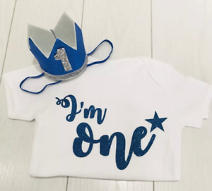 Baby Boys Cake Smash Outfit Set First 1st Birthday Blue Crown Hat /& Top Vest