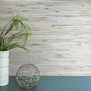 Silver-Metallic-Wallpaper-Real-Natural-Grasscloth-Beige-grass-cloth-wallcovering