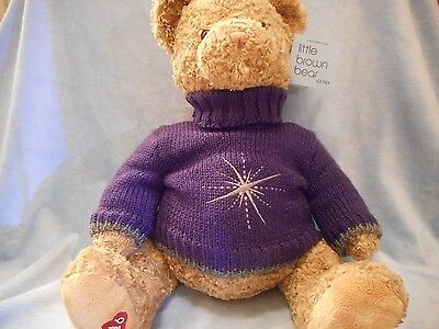 BLMNGDLES 2004 LITTLE BROWN BEAR  W PURPLE SWTR 17 INCHES PLUSH GUND STFFD AML