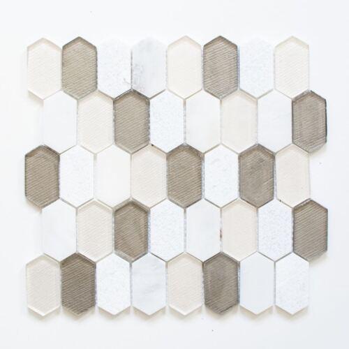 Mosaik Fliese Transluzent beige Hexagonal Glasmosaik85-IN69/_f10Matten