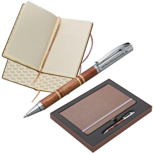 Geschenkset Notizbuch A5 mit 160 Seiten und Kugelschreiber mit ihrer Gravur