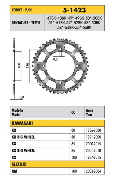 5-1423 - Corona Ergal Passo 420 Kawasaki 80 Kx 1986 1987 1988 1989 1990 1991