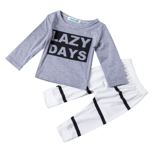 2 in 1 New Infant Kids Baby Boy Girl Clothes T-shirt Tops   Pants Outfit Set