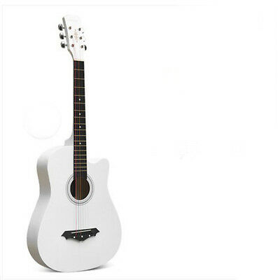 Acoustic Guitars Capable 38 Inch White New Basswood Colorful Strings Cutaway Acoustic/folk Guitar # And To Have A Long Life.