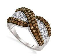 Great Look 10k White Gold Chocolate Brown & White Diamond Fashion Ring 1.0ct