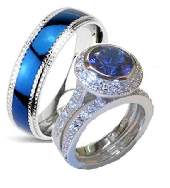 His and Hers Wedding Rings Cz Ring Sterling Silver & Stainless Steel Set
