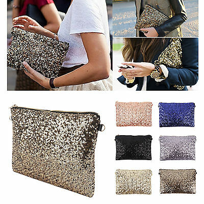 Women Lady Sparkle Sequin Spangle Clutch Pouch Evening Party Bags Wallet Purse