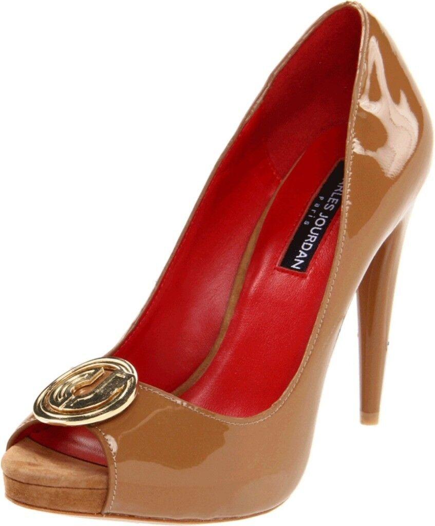 Charles Charles Charles Jourdan Lynette II 2 MOCHA Patent Leder Heels Pump Open-toe Platform c017d4