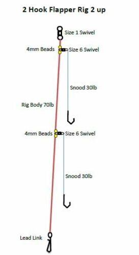70lb BODY 30lb SNOOD 4 x 2 Hook Flapper Sea Fishing Rig 2 up