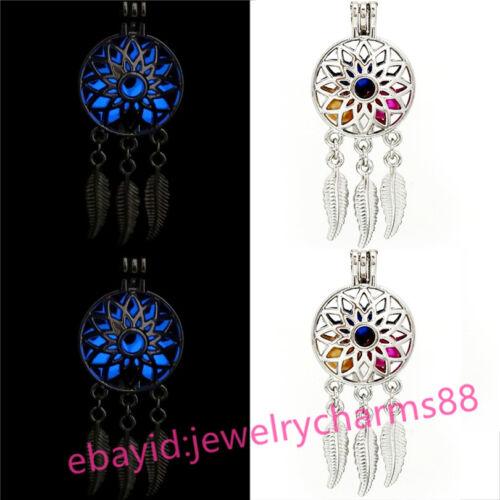 Silver Dream Catcher Fleur Glow in the Dark Blue perles médaillon G679 5 Pack